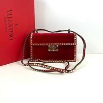 Valentino Garavani Rockstud No Limit Women's Red Clutch Bag Velvet Leather  Photo