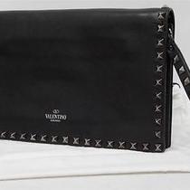 Valentino Garavani Rockstud Noir Leather Wrist Clutch Bag 1845 Photo