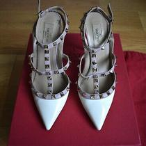 Valentino Garavani Rockstud Patent Leather Pumps Nude/white Size 38 8 Photo