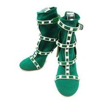 Valentino Garavani Shoes Rockstud Socks S Suede High Heels 37 Green /yi16 Photo