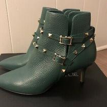 Valentino Green Leather Gold Rockstud Pointed Toe Ankle Boots 37 Size Photo