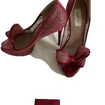 Valentino Lace Bow Slim Heel Peep Toe Dorsay Pumps Beige Size 38 Photo