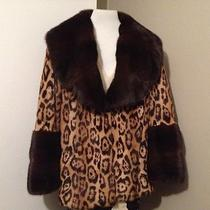 Valentino Leopard Printed Weasel With Mahogany Mink Collar and Cuffed Jacket 46 Photo