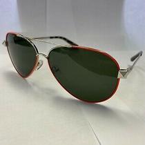Valentino Men's Women's Sunglasses Silver Unisex Gray V117s Aviator Fluro Orange Photo
