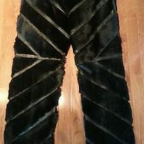 Valentino Mens Black Leather and Kangaroo Fur Pants 32w/33 Ins-Made in Itally Photo