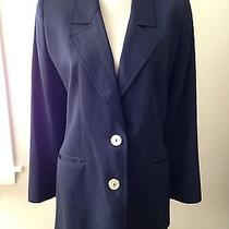 Valentino Miss v Navy Blue Blazer Jacket Coat Classic Mother of Pearl Buttons 12 Photo