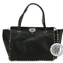 Valentino New Medium Rockstud Top Handle Black Calfskin Tote Bag Mprs Photo
