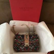 Valentino Nwt/nwb Small Glam Rockstud Shoulder Bag Embellished Leather ret.3995 Photo