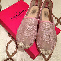 Valentino Pink Lace Espadrilles Size 10 475 Photo