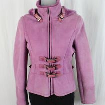 Valentino Purple Lambskin Suede Shearling Hooded Outerwear Coat Size 2 Photo