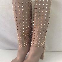 Valentino 'Rock Studded' Nude Knee High Boots 38.5 Size 8 Photo