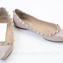 Valentino Rockstud Blush Pink 6.5 36.5 Patent Pointed Toe Ballet Flat Shoe 775 Photo