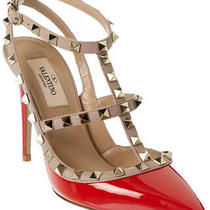 Valentino Rockstud Caged 100 Patent Ankle Strap Pump Women's Red 39 Photo