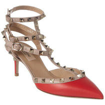 Valentino Rockstud Caged 65 Leather Ankle Strap Pump Women's Red 38 Photo