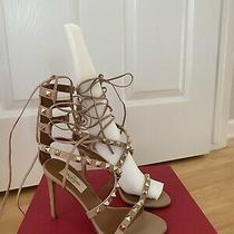 Valentino Rockstud Nude Sandals Sz 5/5.5 Nib Photo