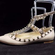 Valentino Rockstud Patent (Blush) Cage Flats Size 38 8 Photo