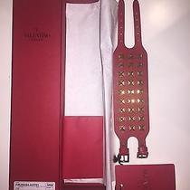 Valentino Rockstud Red Leather Cuff Bracelet New Photo