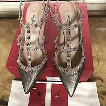 Valentino Rockstud T-Strapmetallic Gold Leatherpumps Size 38 Photo