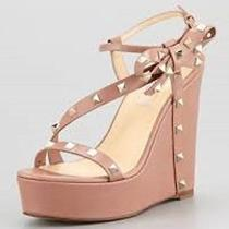Valentino Rockstud Wedges Sandals Bow Nude Blush 36.5 6.5 6 1/2 Neiman Marcus Photo