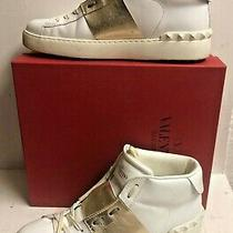 Valentino Rockstud White Gold Studded Leather  Sneakers Shoes 41 Retail 795 Photo