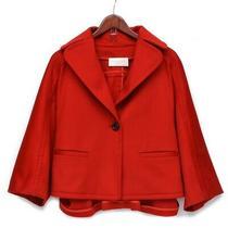 Valentino Roma Red Car Coat Cape Wrap Jacket Size 42 Felt Wool Blazer Us Sz 6 Photo