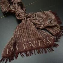 Valentino Scarf Cashmere Blened Raw Fringe Excellent Condition Beautiful Photo
