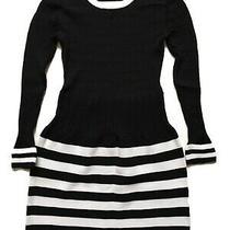 Valentino Sz S M Dress Long Sleeve Mini Knit Black White Striped Skirt Ribbed Photo