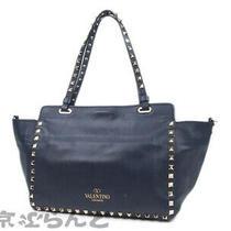 Valentino Tote Shoulder Bag Leather Rockstud 2way Fwb00037 Ladies Navy Photo