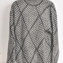 Valentino Uomo  Gray & Black Houndstooth Mock Neck Worsted Wool Sweater M 650 Photo
