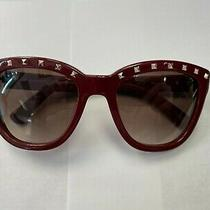 Valentino V677s Red 606 Studs Shaded 52/20/130 100% Authentic Photo