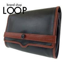 Valentino Vintage Black Brown Leather Clutch Bag Second Porch Women 'S 101476 Photo