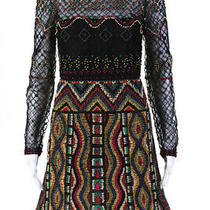 Valentino Womens All Over Beaded Half Sleeve Sheath Dress Multicolor Size M Photo