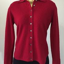 Valerie Stevens 100% Cashmere Red Cardigan Long Sleeve Sweater Sz Petite M Soft Photo