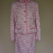 Valerie Stevens 8p Pink Boucle Knit Tweed Skirt Suit Blazer Jacket 8 Petite 2 Pc Photo