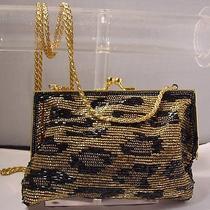Valerie Stevens Beaded Leopard Evening Bag Purse Clutch or Shoulder Photo