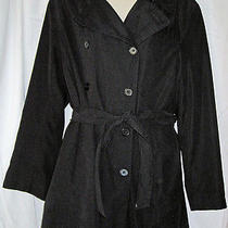 Valerie Stevens Black Microfiber All Weather Raincoat 10/12 Photo