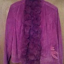 Valerie Stevens L Pink/mauve  Suede Leather Jacket With Scarf & Gloves Photo