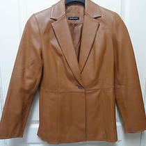 Valerie Stevens Ladies Brown Leather Jacket Size Medium Gently Worn Photo