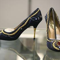 Valerie Stevens Navy Blue Rhinestone Jeweled Women's High Heel Shoes  Size 7 Photo