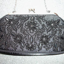 Valerie Stevens Satin Black Beaded Evening Bag Purse Clutch Shoulder Strap Photo