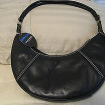 Valerie Stevens Shoulder Bag / Purse  Genuine Black Leather   Crescent Shape  Photo