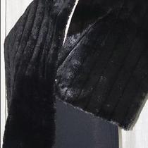Valerie Stevens Stunning Black Faux Fur Mink Shawl Wrap Stole Throw 18
