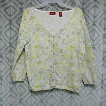 Valerie Stevens Top Size M Gray Yellow Floral Button Front Long Sleeve v Neck  Photo