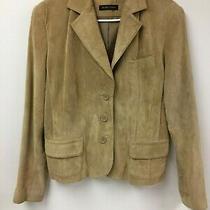Valerie Stevens Women's Leather Jacket Large Casual Comfort Tan Button Front Lg Photo