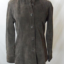 Valerie Stevens Womens Long Sleeve Brown Suede Button Down Shirt Jacket Size 4 P Photo