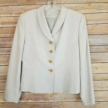 Valerie Stevens Womens Size 4 Silk Blazer Light Gray Long Sleeve Buttons Photo