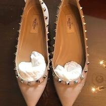 Valntini Rockstud Patent Leather Ballet Flat Blush 38 Photo