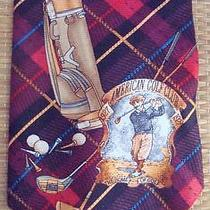 Van Heusen Mens American Golf Club Red Vintage Style Tartan Necktie Tie U Photo