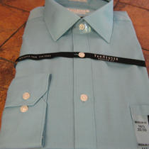 Van Heusen-Reg-size16.5-32/33-Green Frost (Aqua)-Ribbed Effect-Cotton/poly-New Photo
