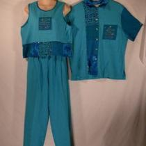Vanity 3 Pc Aqua Beaded Embroid Top Tank & Pants Sm L Photo